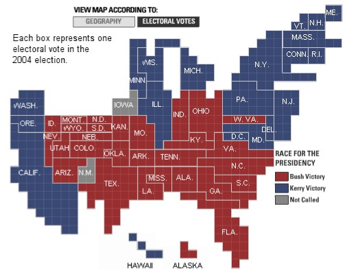 essays & effluvia: The US, Electoral Map (proportional)