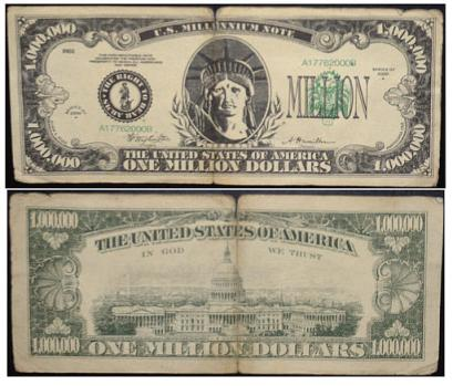 million dollar bill. million bill